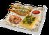 Омлет с беконом, луком фри и томатным соусом